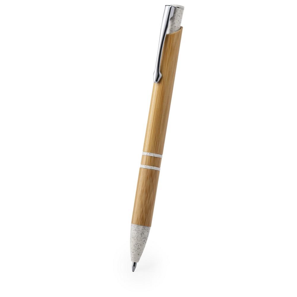 Bambusowy długopis, elementy ze słomy pszenicznej, metalowy klip
