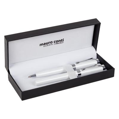 Zestaw piśmienny Mauro Conti, pióro kulkowe i długopis, biały