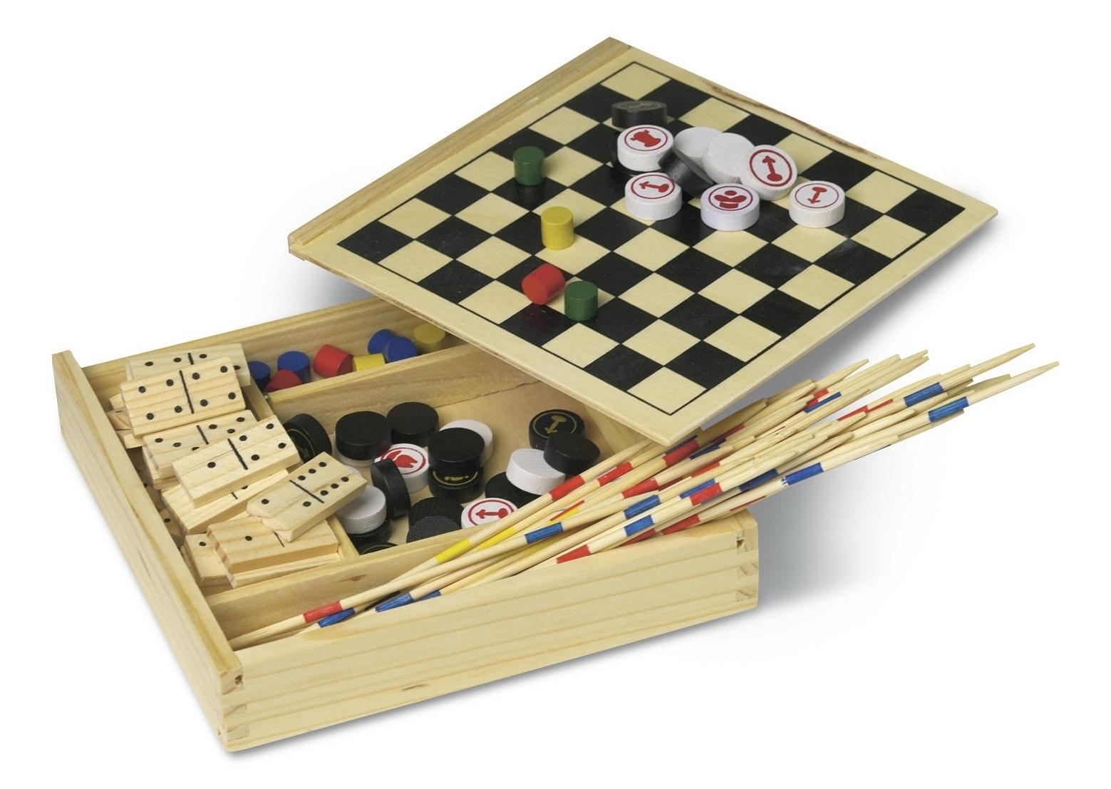 Zestaw 5 gier w drewnianym pudełku