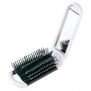 Składana szczotka do włosów ELVIS, biały, czarny