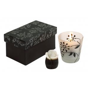 Zestaw świeczek, LITTLE FLOWER, czarny/biały