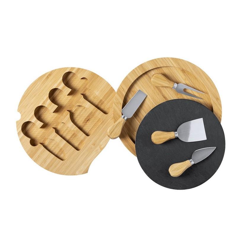 Bambusowy zestaw do sera, 4 el., deska do krojenia z łupka