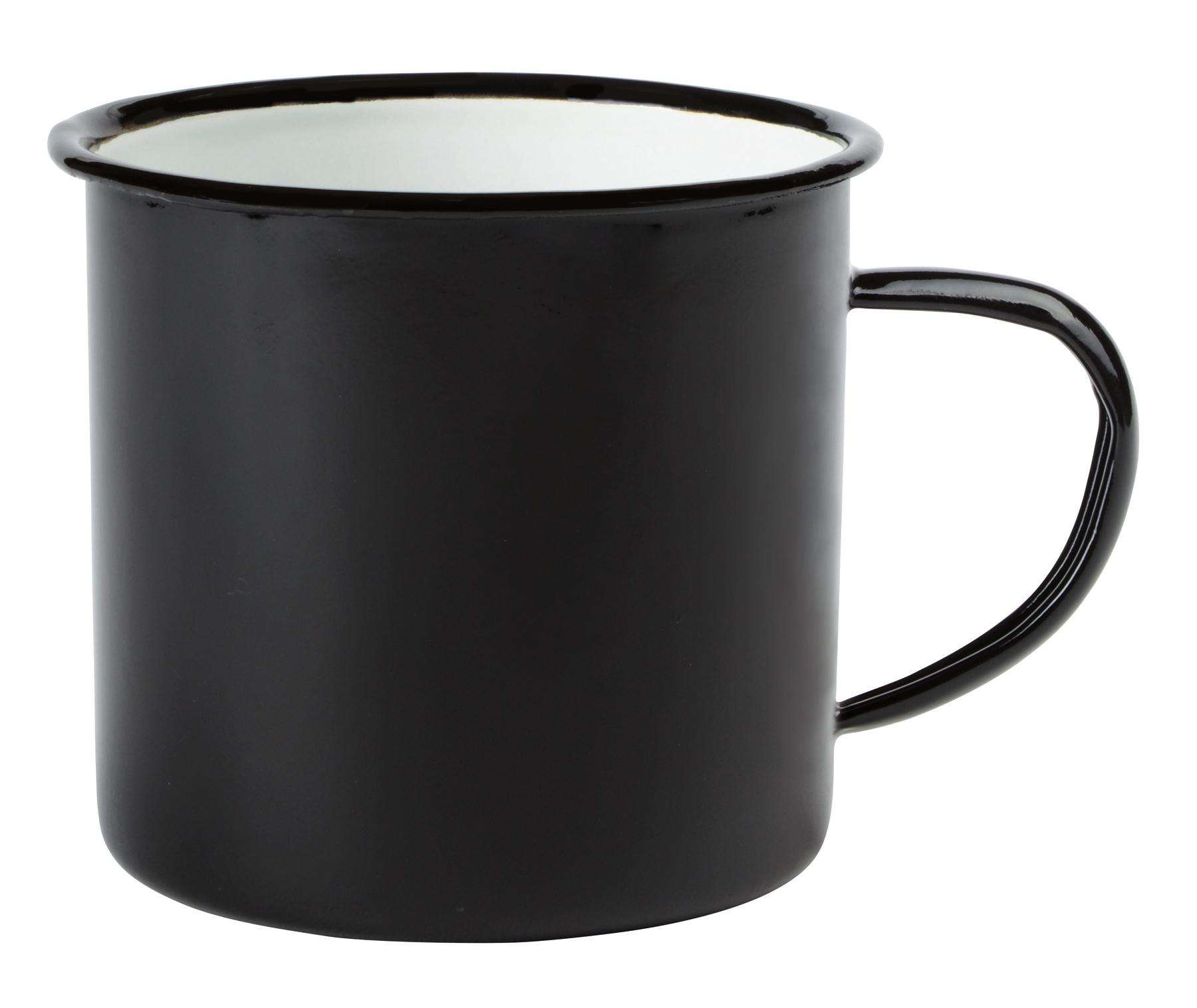 Kubek emaliowany RETRO CUP, biały, czarny