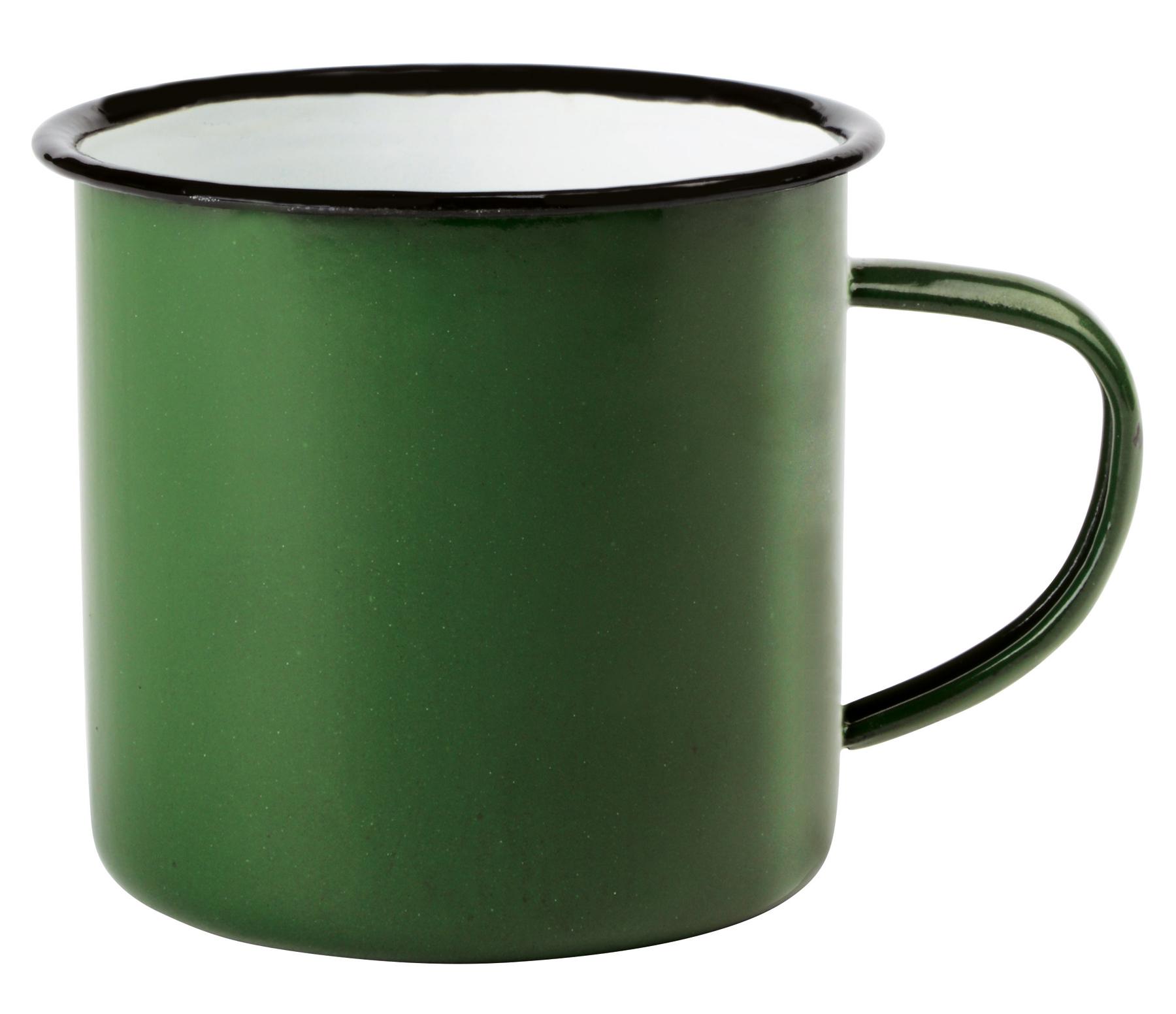Kubek emaliowany RETRO CUP, biały, zielony