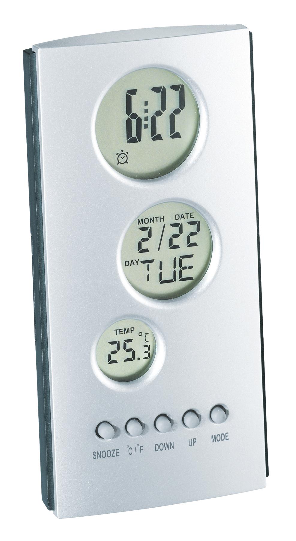 Zegar elektroniczny TOWER, antracytowy, srebrny