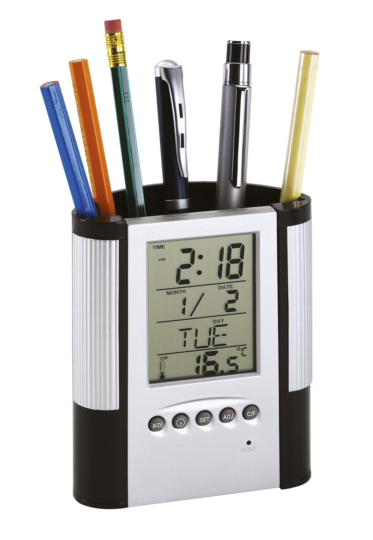 Zegar z wyświetlaczem LCD BUTLER, czarny, srebrny