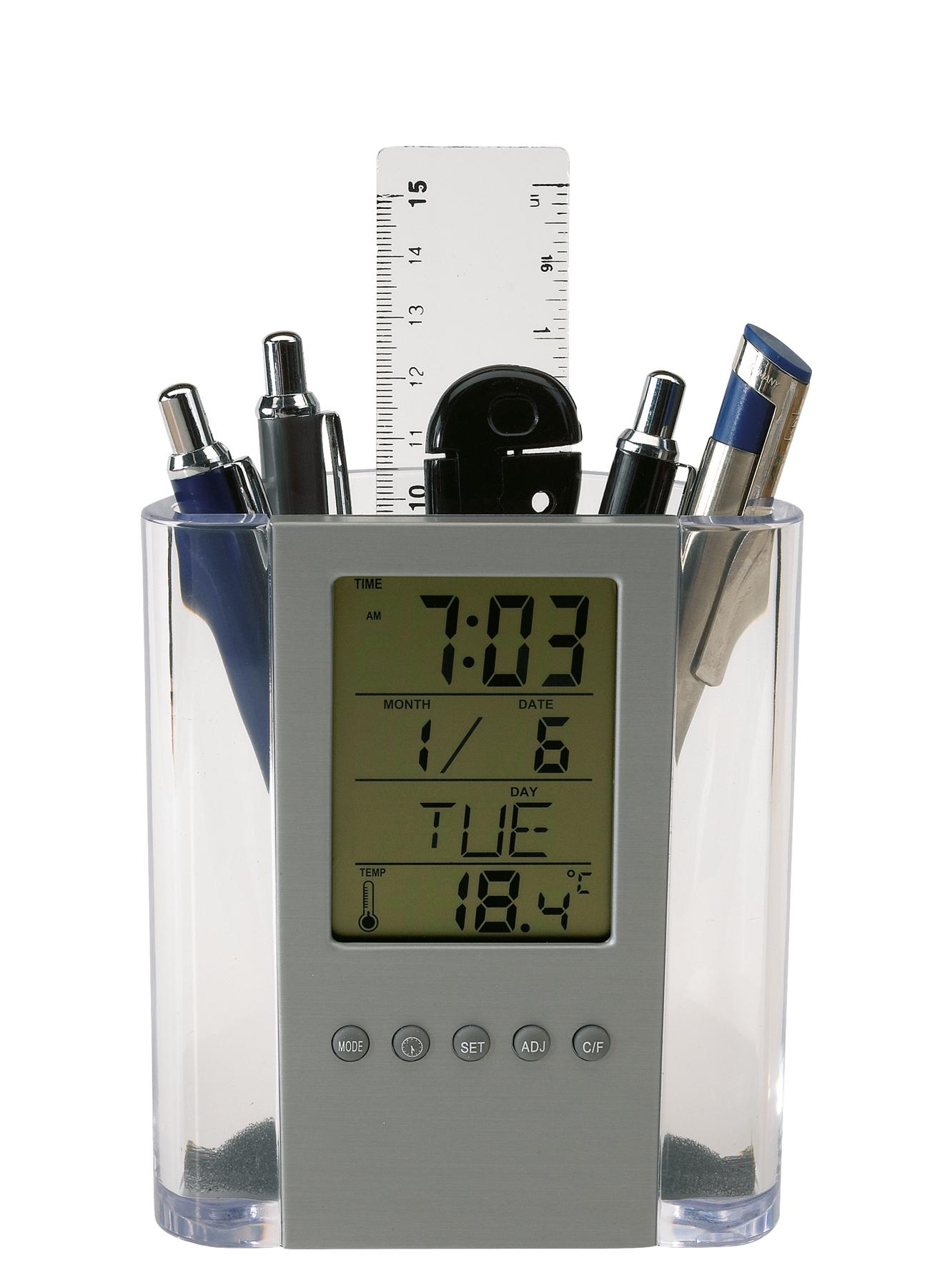 Zegar z wyświetlaczem LCD BUTLER, srebrny, transparentny