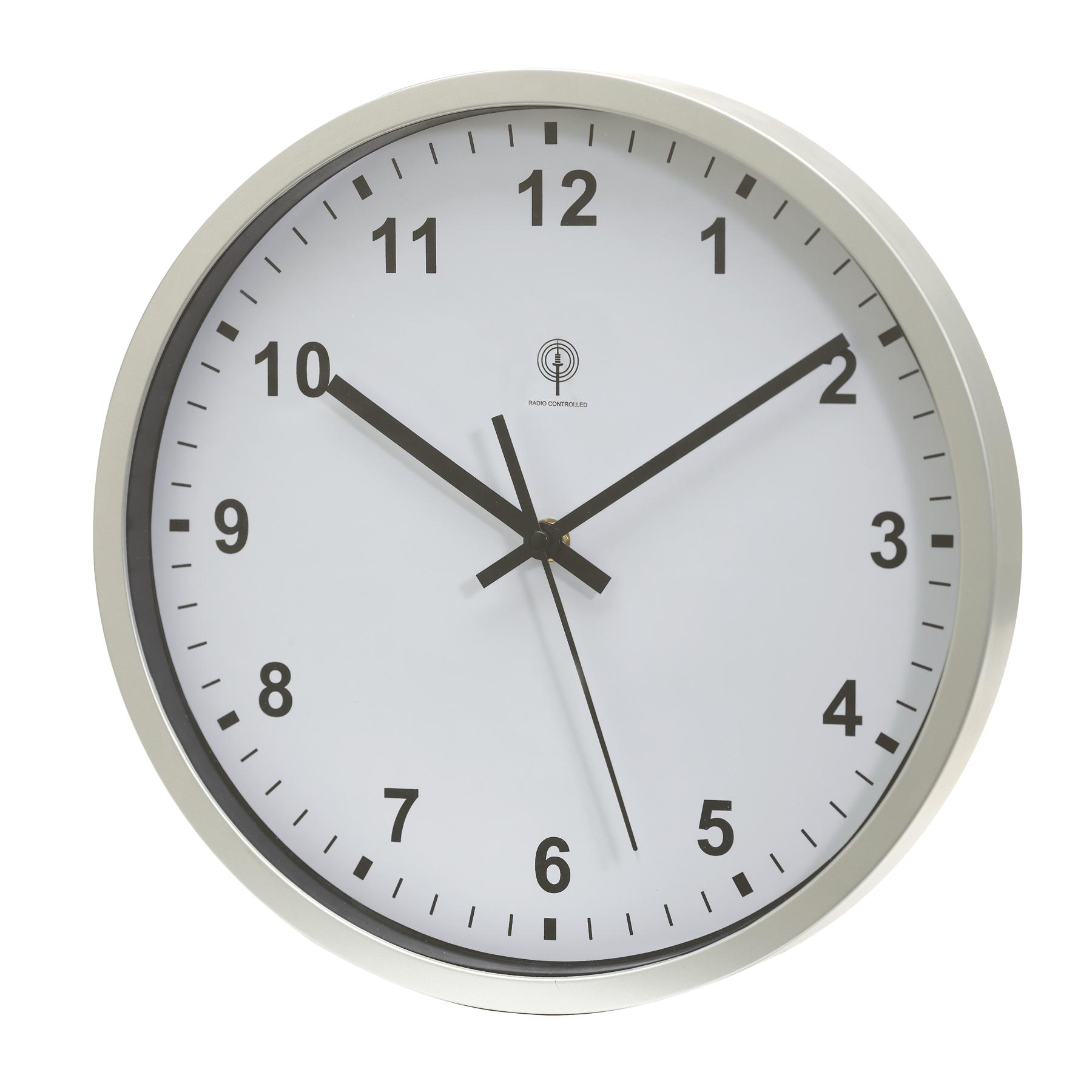 Zegar sterowany radiowo NEPTUNE, biały, srebrny