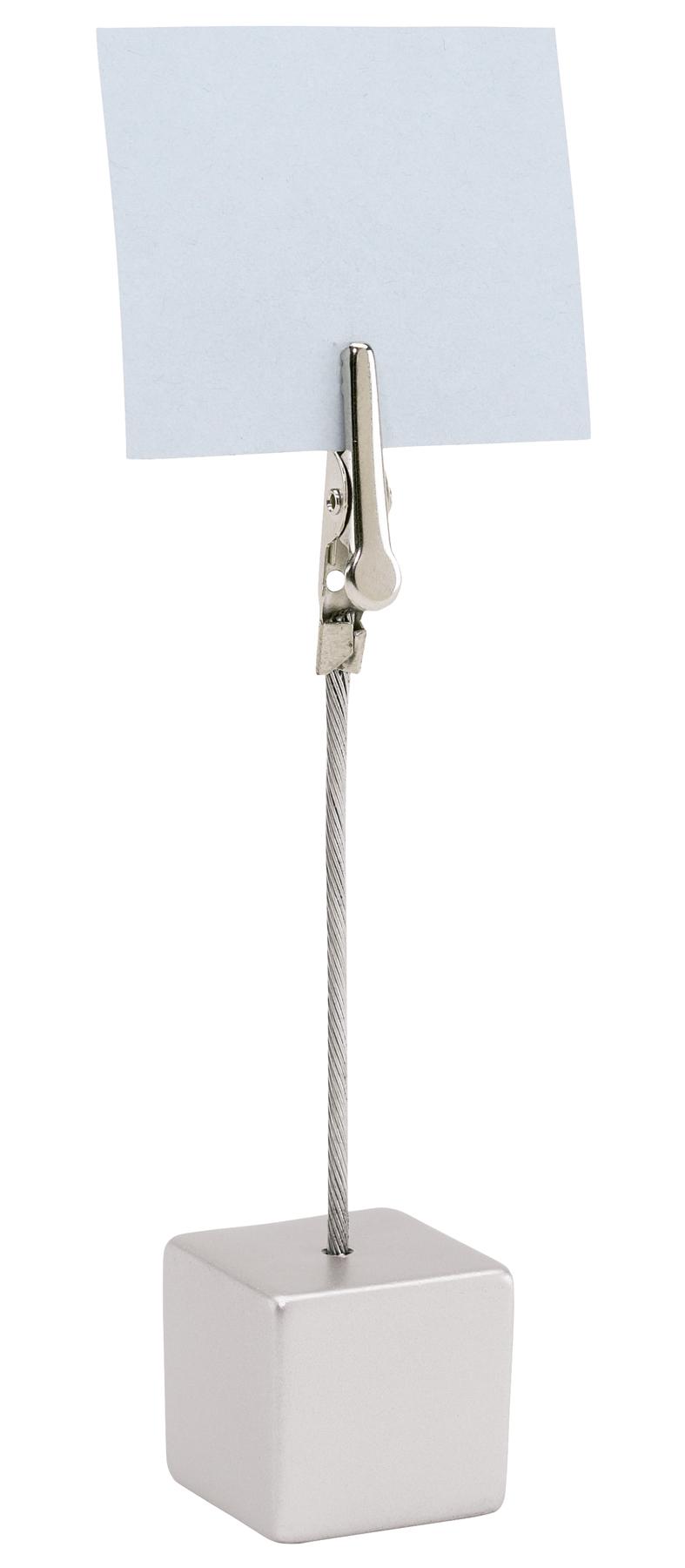 Stojak z klamerką na notatki CUBE, srebrny