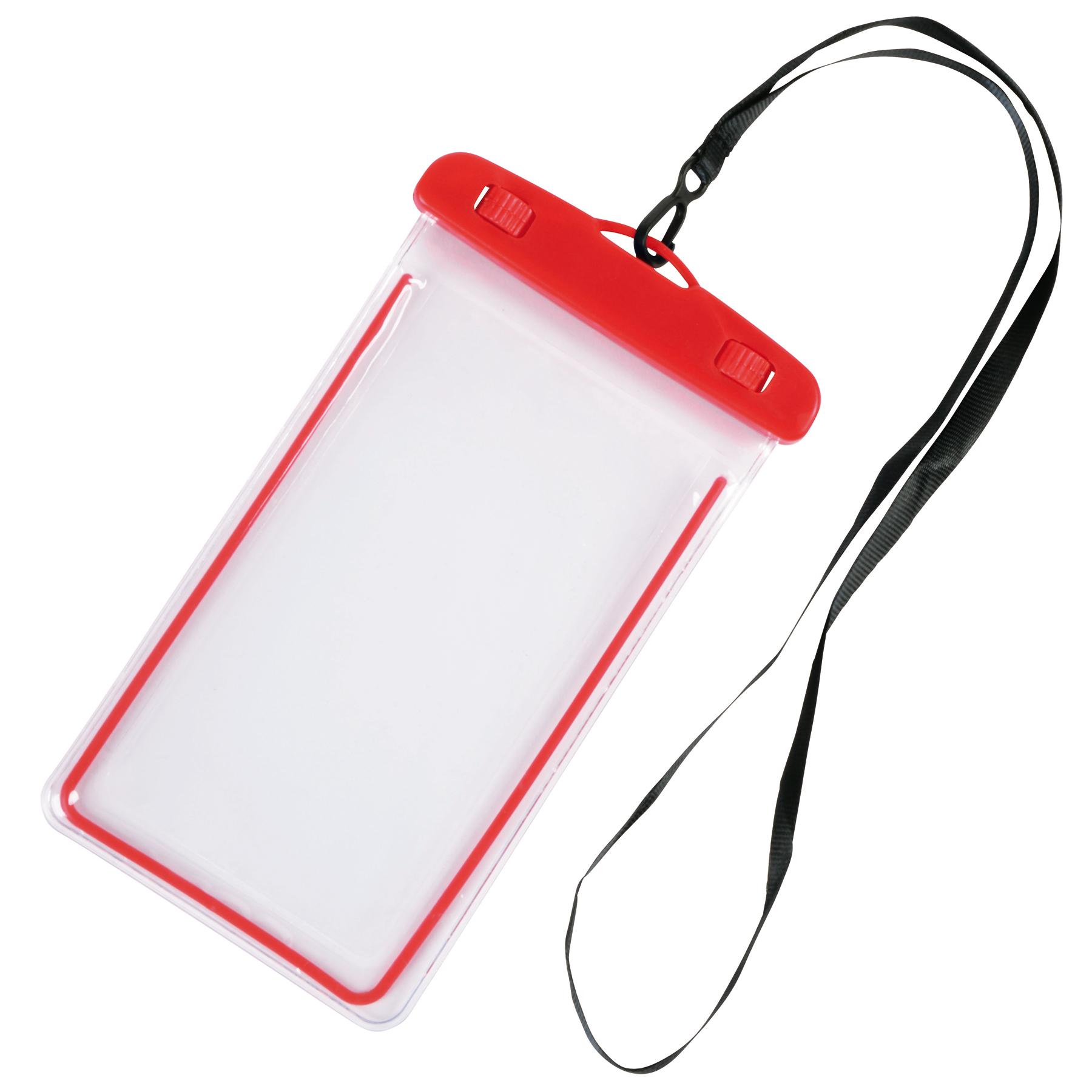 Torebka na telefon DIVER, czerwony, transparentny