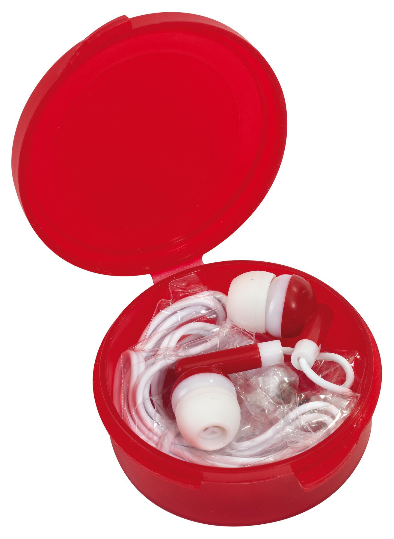 Słuchawki douszne MUSIC, czerwony