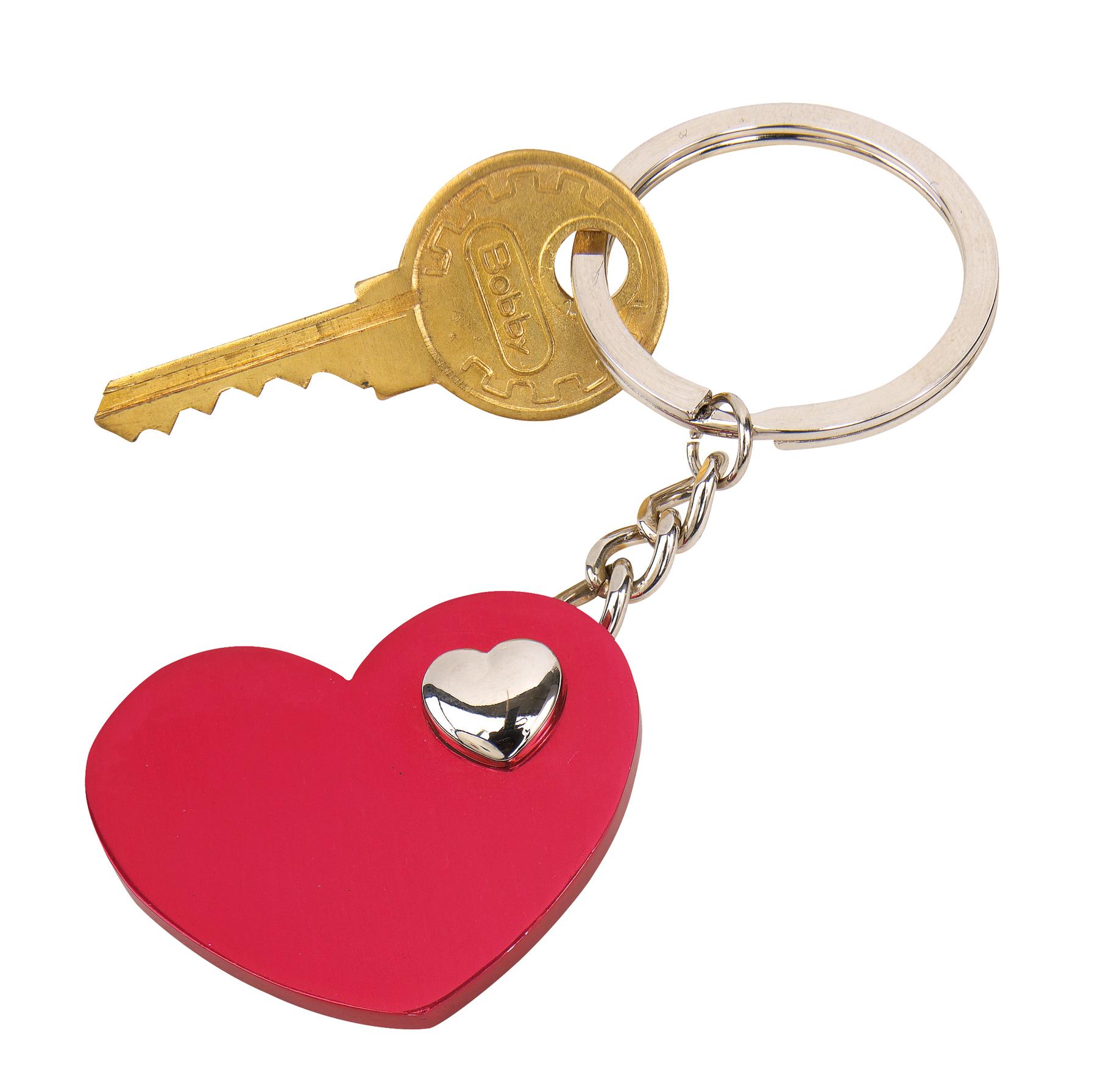 Brelok HEART-IN-HEART, czerwony, srebrny