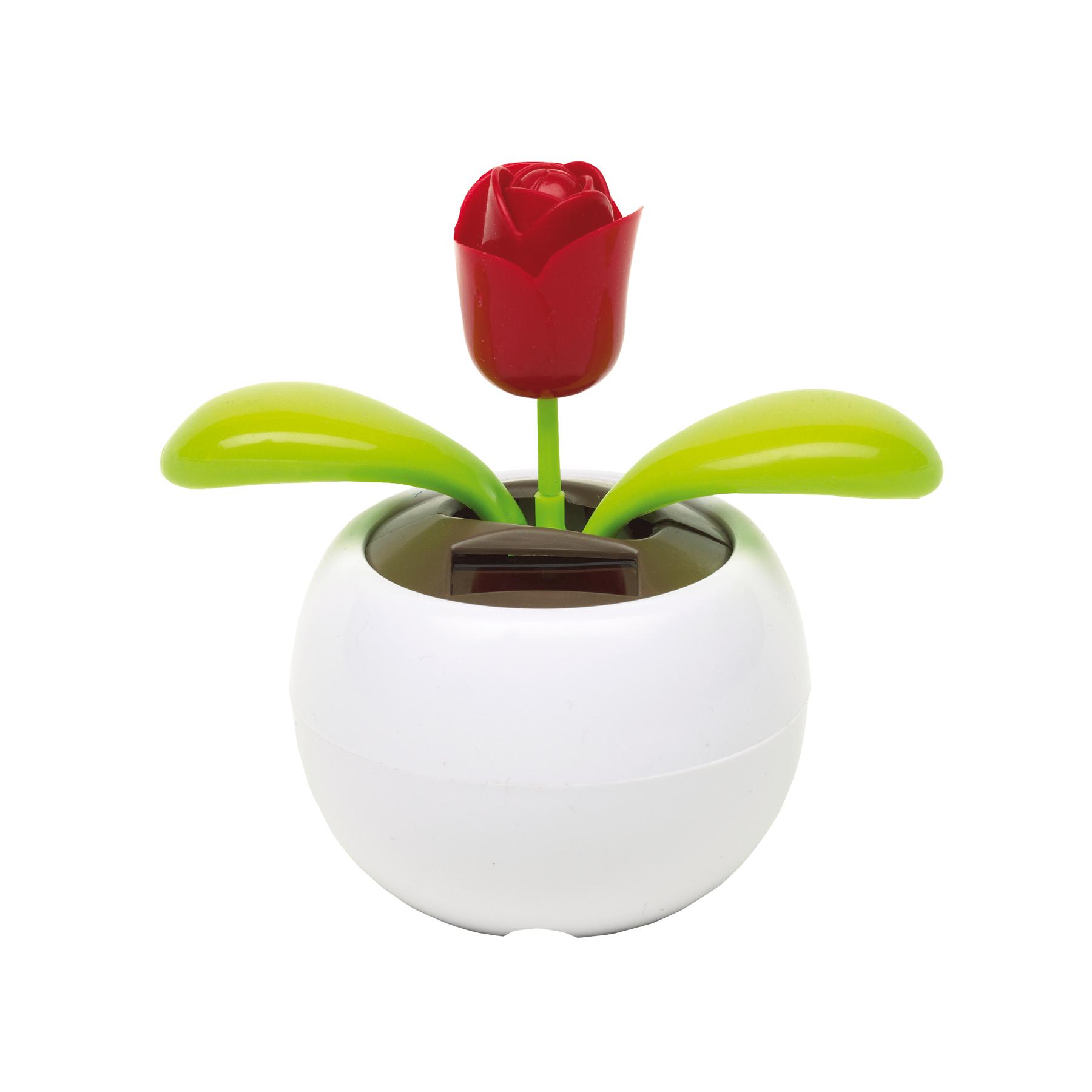 Kwiatek na baterię słoneczną WAVING, biały
