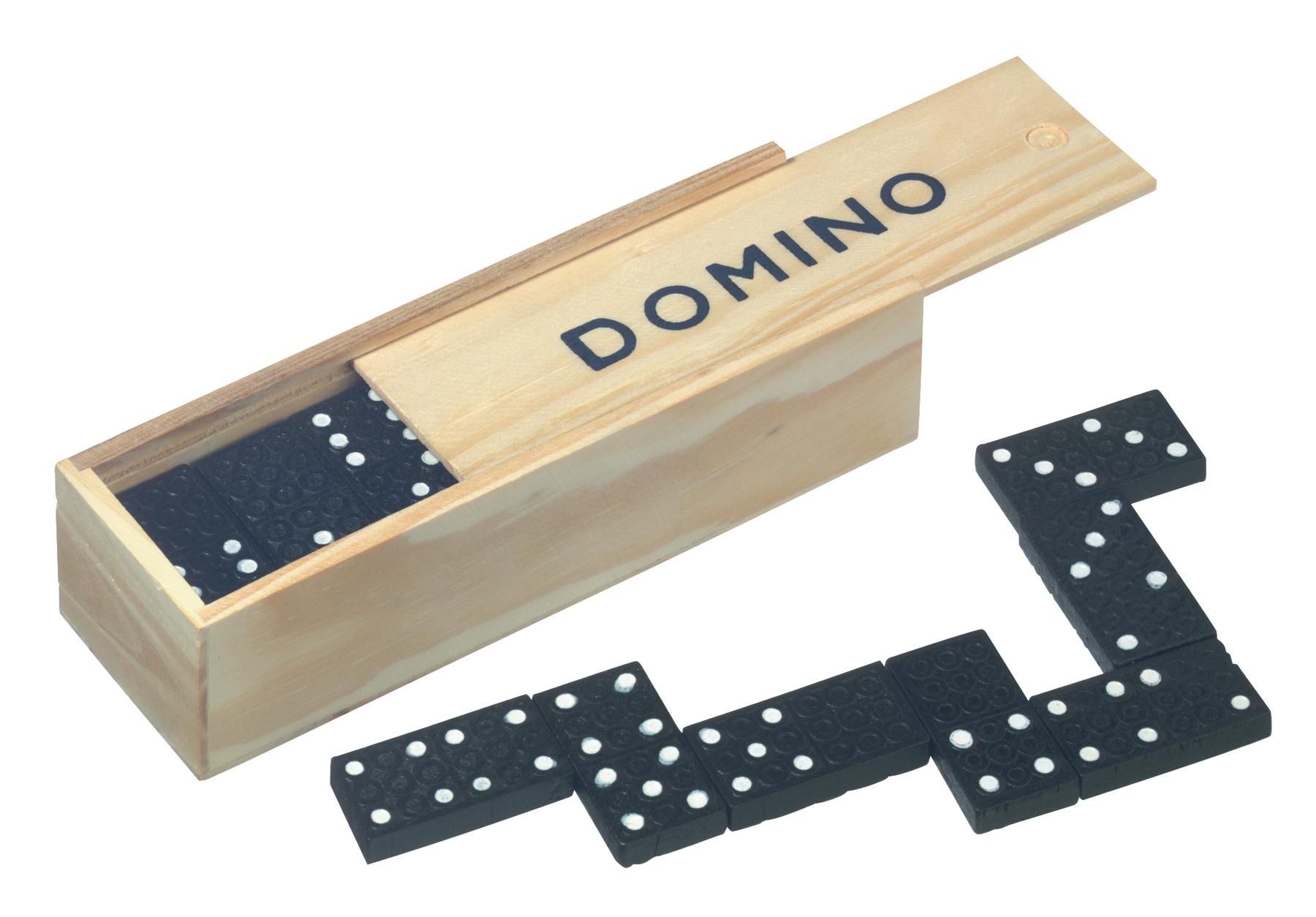 Gra DOMINO, czarny, drewniany