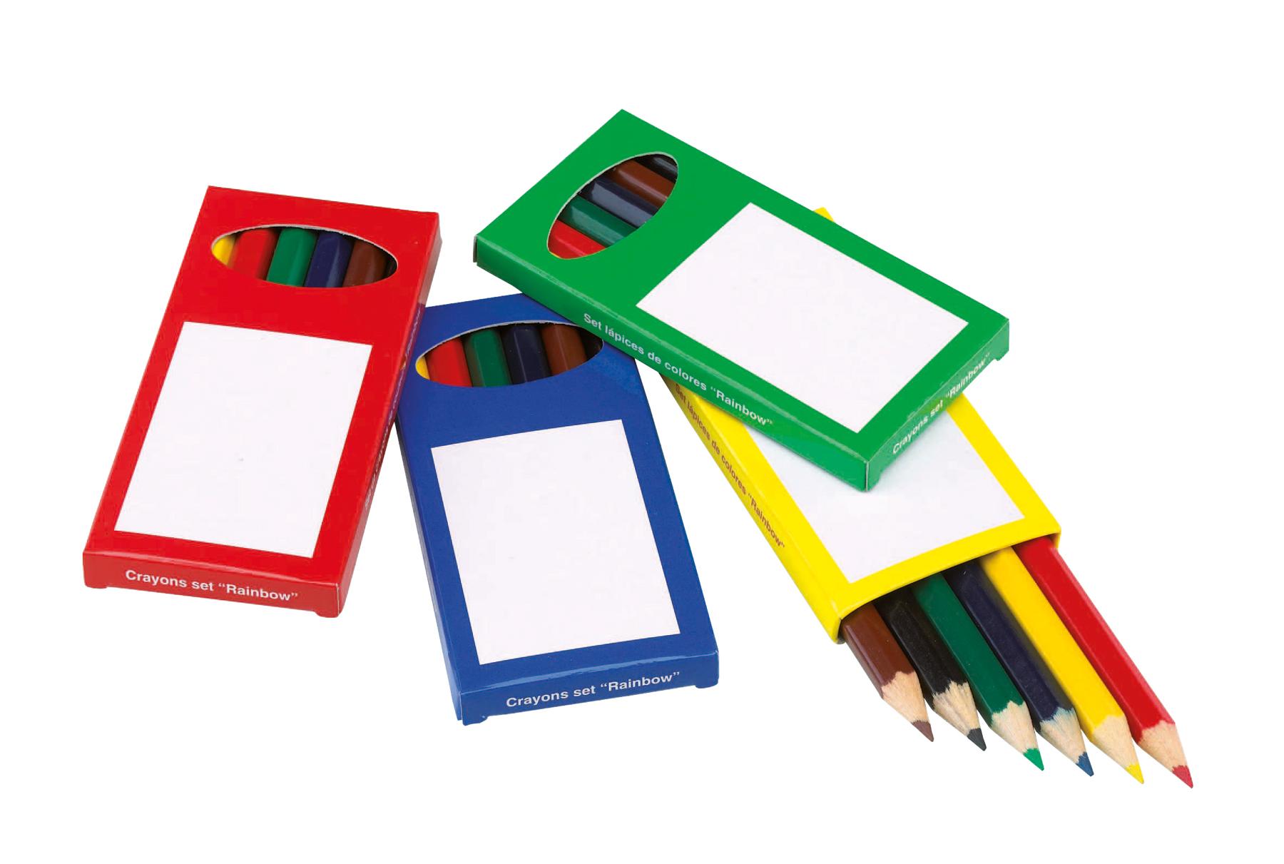 Zestaw kredek 6szt, czerwony, niebieski, zielony, żółty