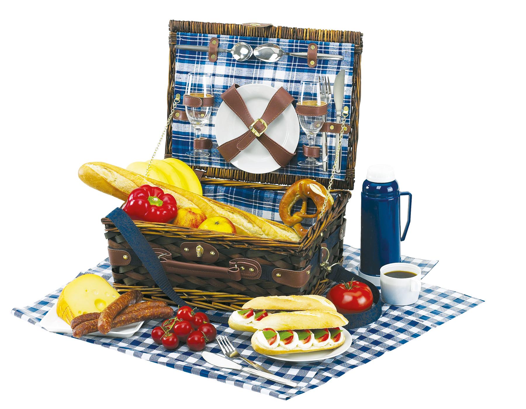 Kosz piknikowy CENTRAL PARK, biały, niebieski
