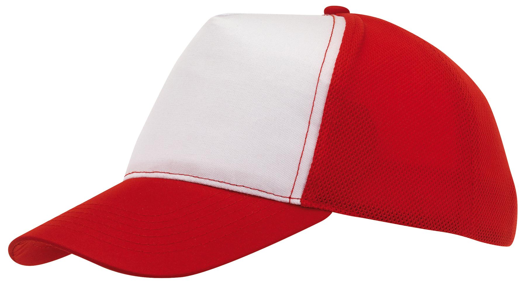 Czapka baseball BREEZY, biały, czerwony