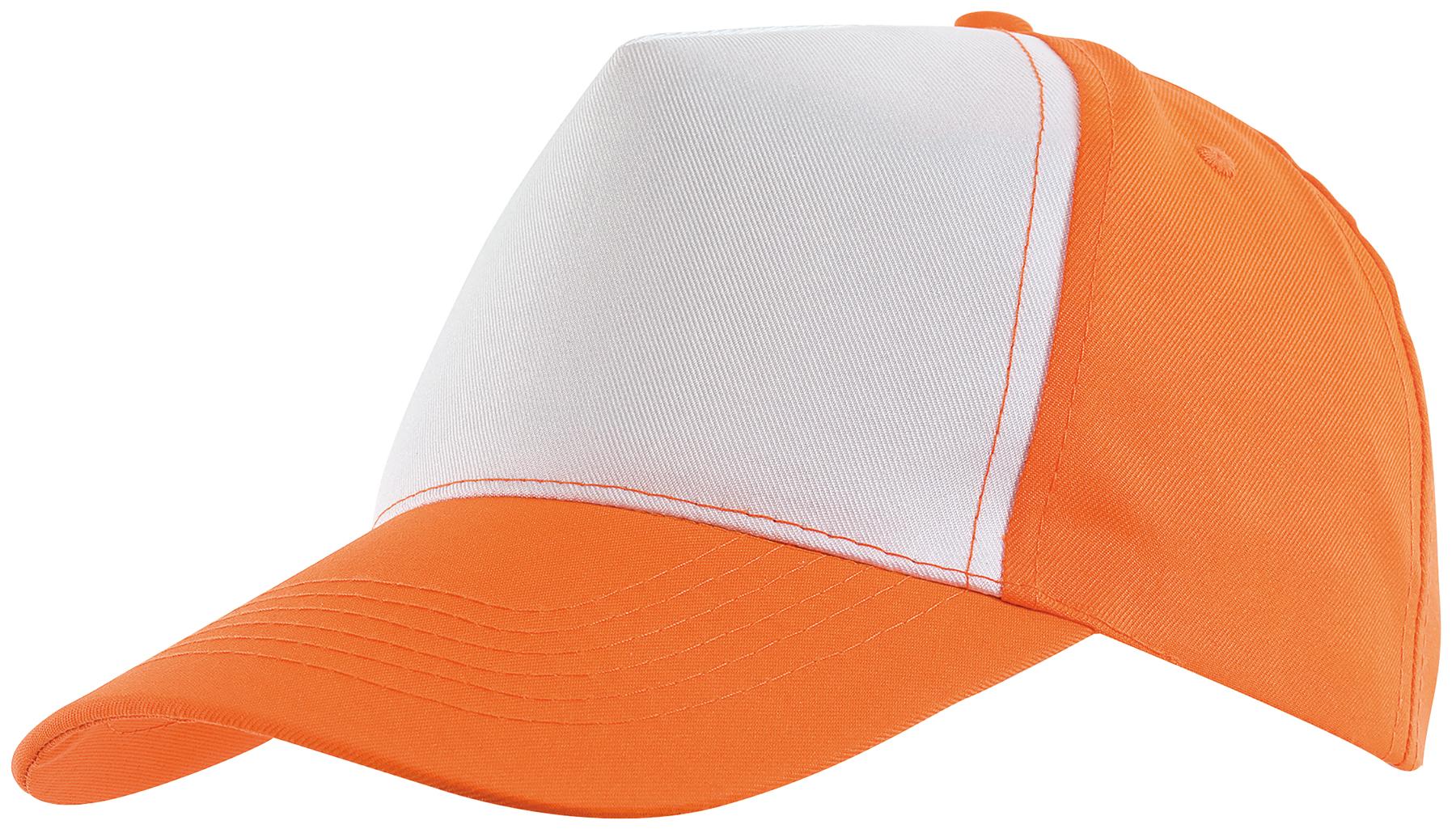 5 segmentowa czapka SHINY, biały, pomarańczowy