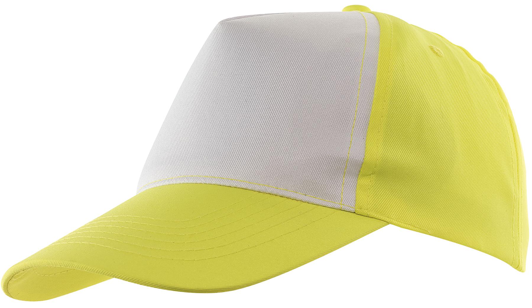 5 segmentowa czapka SHINY, biały, żółty