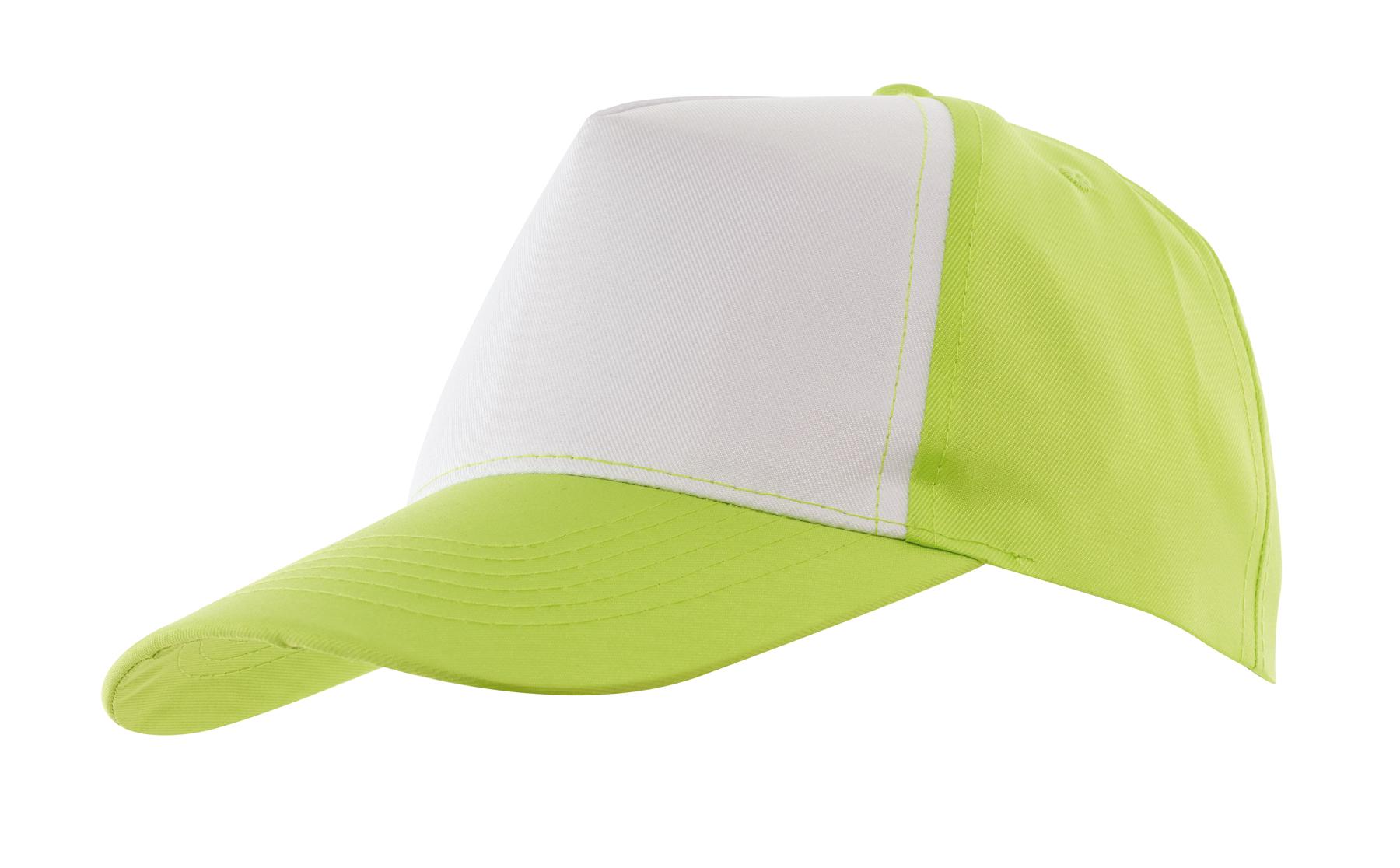 5 segmentowa czapka SHINY, biały, zielony
