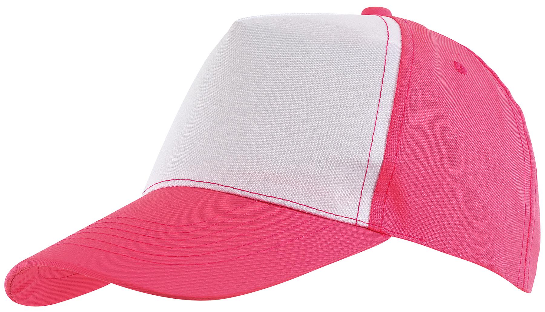 5 segmentowa czapka SHINY, biały, różowy