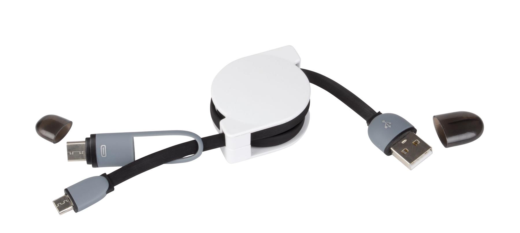 Ładowarka USB z adapterem DATA, biały