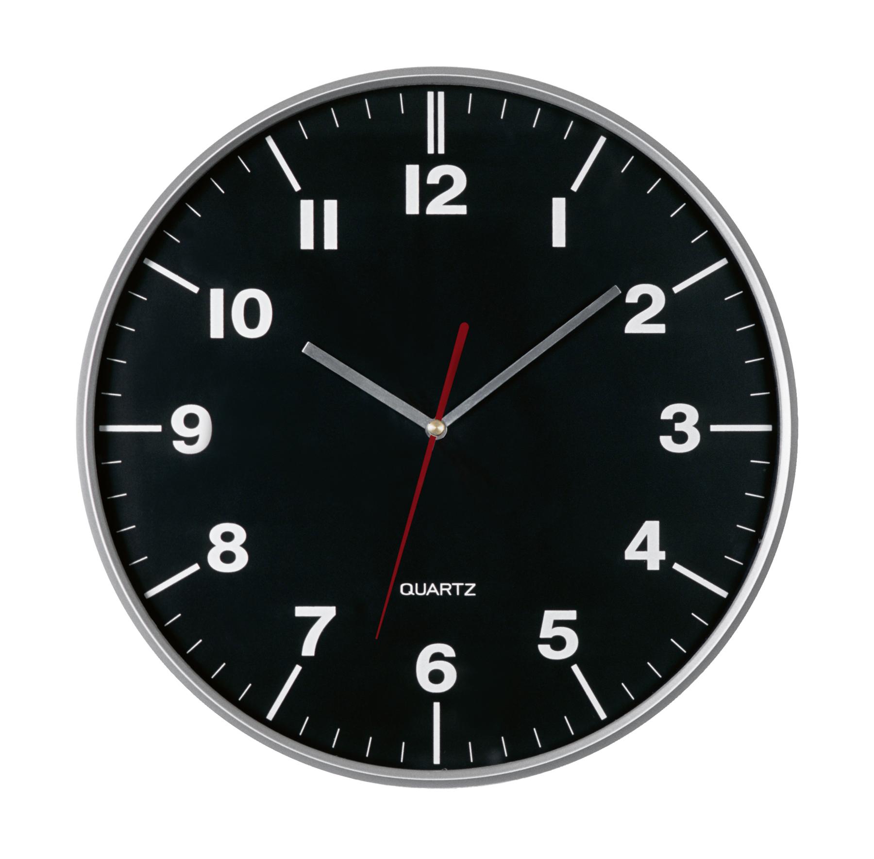 Zegar ścienny HEMERA, czarny, srebrny