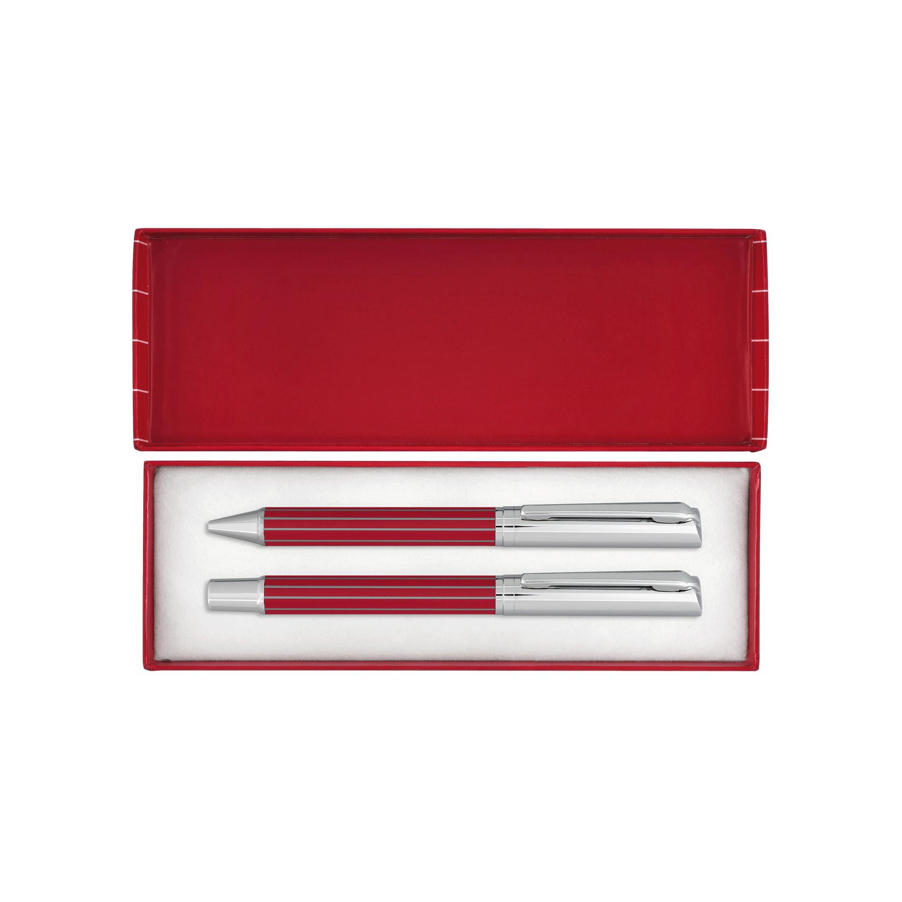 Zestaw do pisania ADORNO, czerwony, srebrny