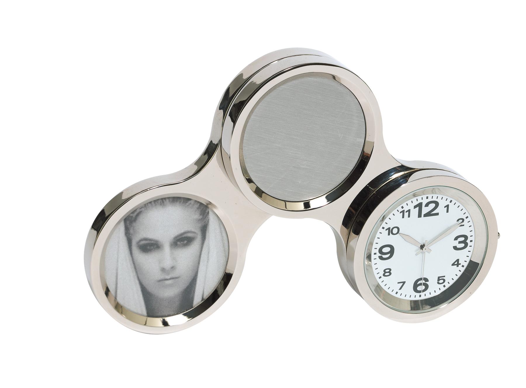 Obrotowy zegar CIRCLE, srebrny