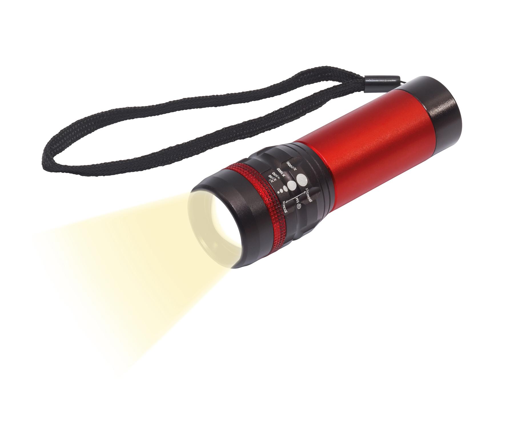 Latarka LED ZOOM, czarny, czerwony