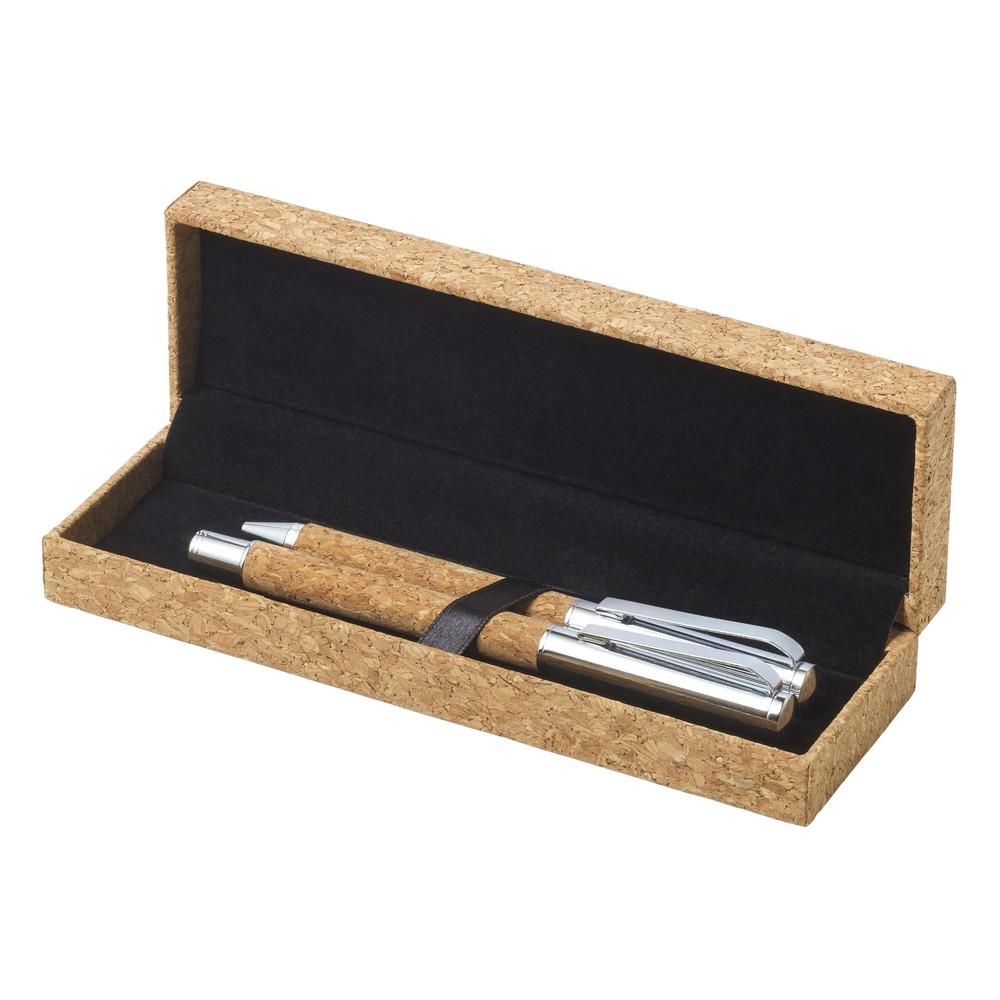 Korkowy zestaw piśmienny, długopis, pióro kulkowe