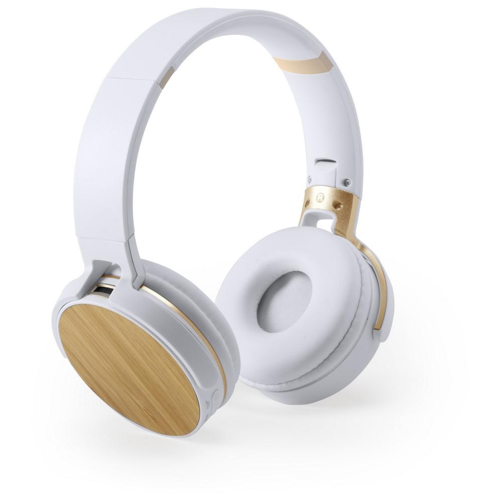 Bezprzewodowe słuchawki nauszne, bambusowe elementy