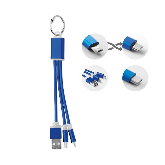 Brelok 1A z kablami ładującymi micro USB i typ C RIZO