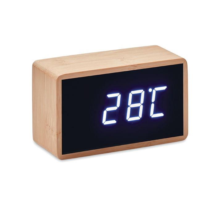Zegar LED z budzikiem i wskaźnikiem temperatury w bambusowej obudowie.
