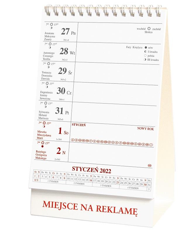 Kalendarz stojący, tygodniowy