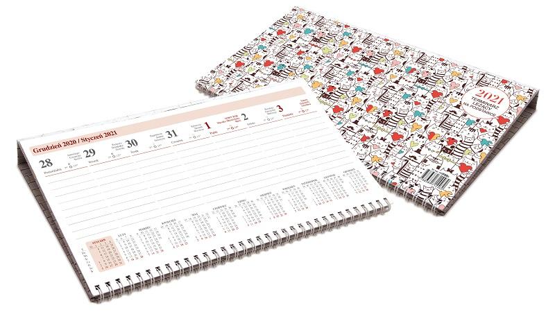 Kalendarz leżący na podstawce
